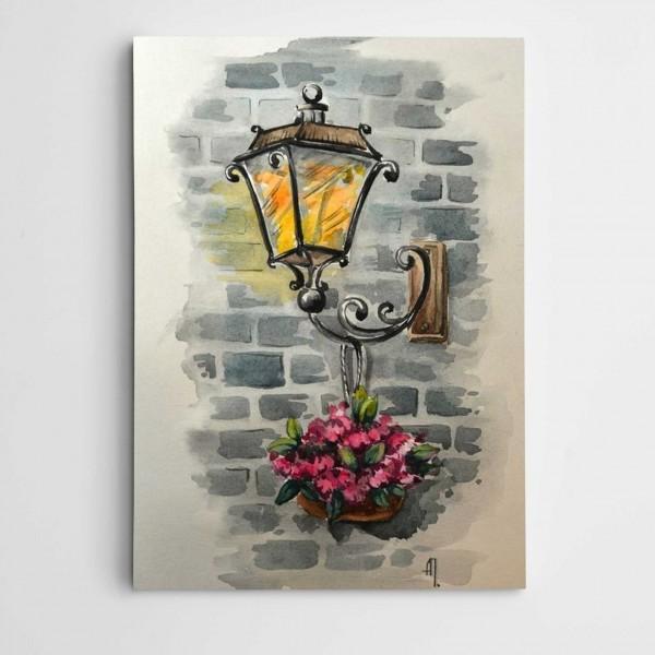Sokak Lambası Modern Sanat  Kanvas Tablo