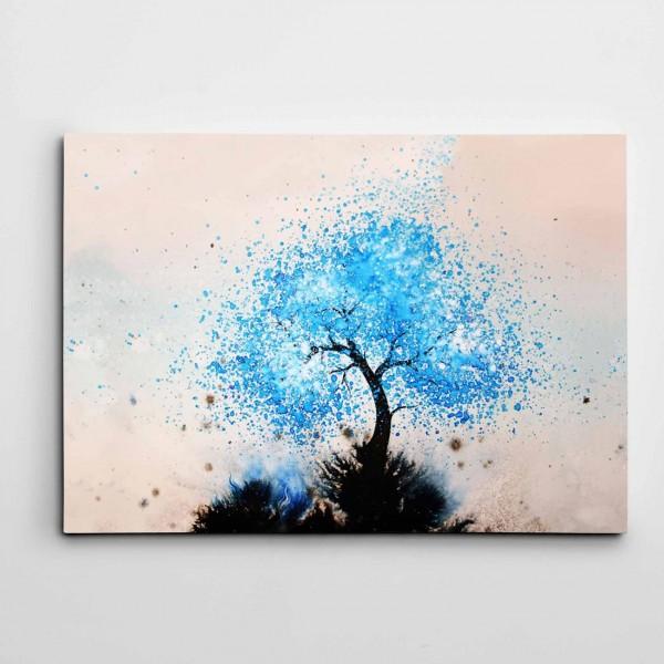 Mavi Ağaç Modern Sanat Kanvas Tablo