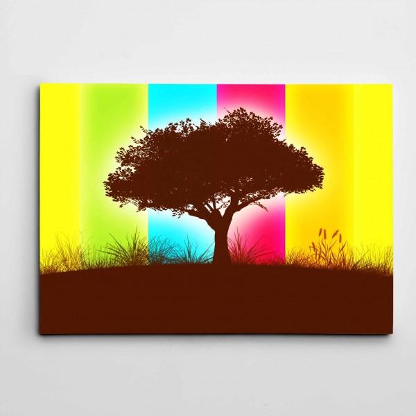 Ağaç ve Renkler Modern Sanat Kanvas Tablo
