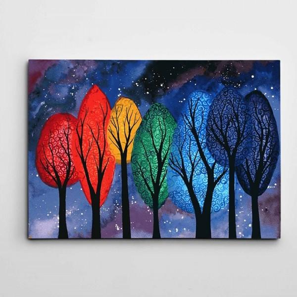 Ağaçlar ve Yıldızlar Modern Sanat Kanvas Tablo
