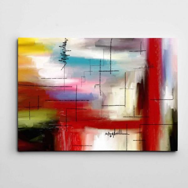 Renkler ve Çizgiler Modern Sanat Kanvas Tablo