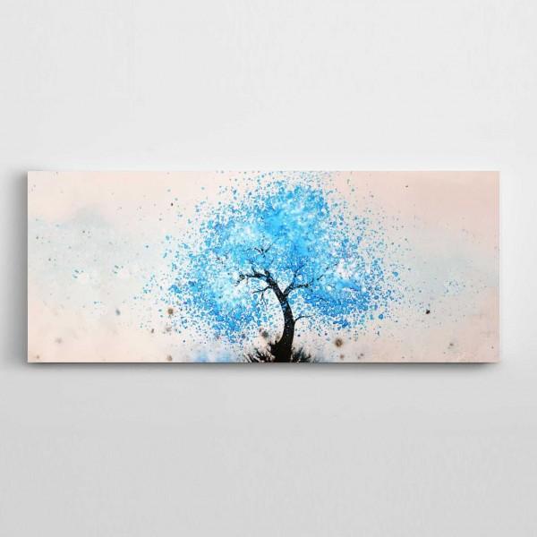 Mavi Ağaç Panoramik Kanvas Tablo