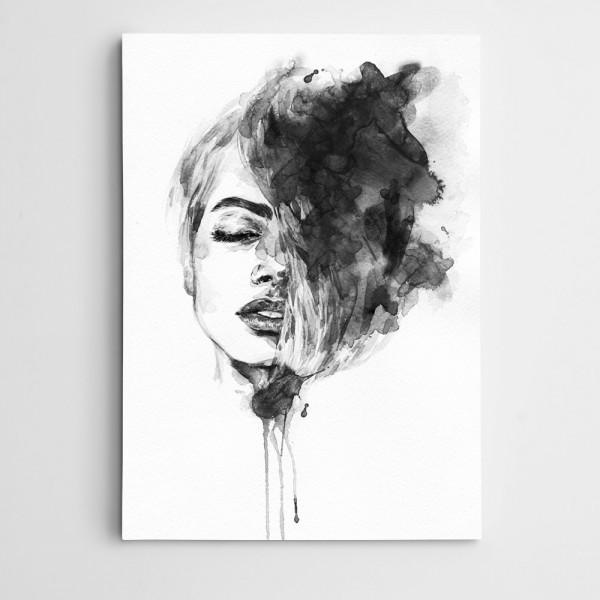 Portre Siyah Beyaz Kanvas Tablo