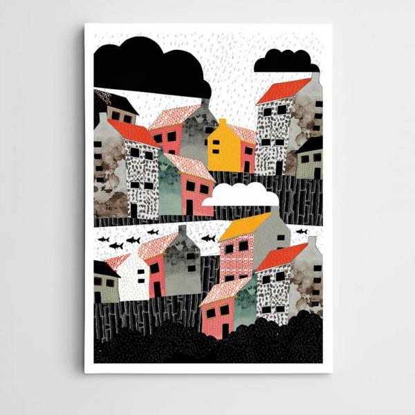 Renkli Evler ve Bulutlar Kanvas Tablo