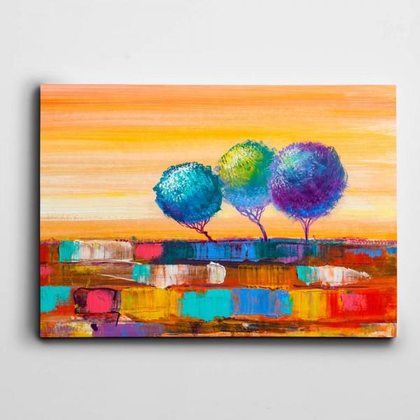 Renkli Topraklar ve Ağaçlar Kanvas Tablo