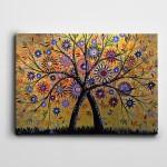 Soyut Ağaç Çiçekler Kanvas Tablo