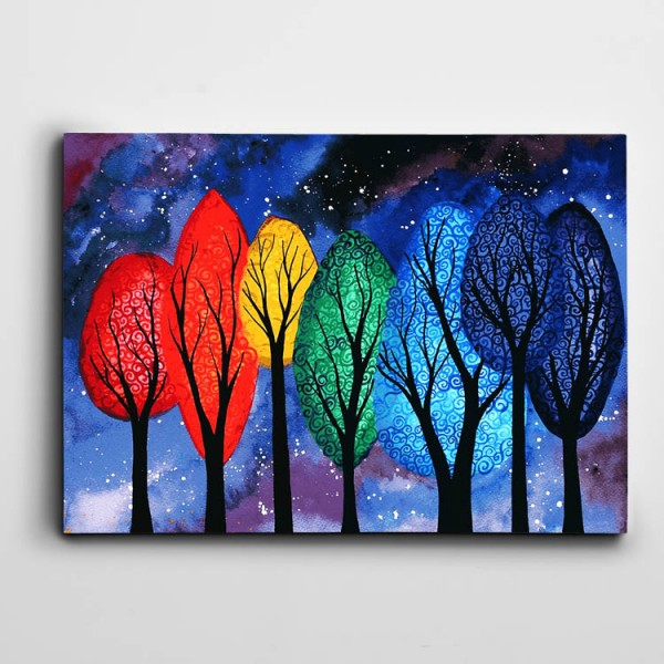 Soyut Renkli Ağaçlar Kanvas Tablo
