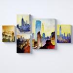 Şehir Manzarası Kolaj Parçalı Kanvas Tablo