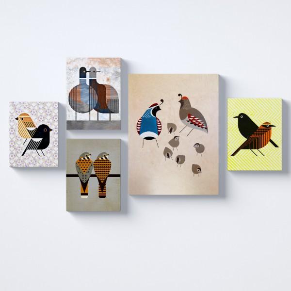 Kuşlar Desenler Kolaj Parçalı Kanvas Tablo