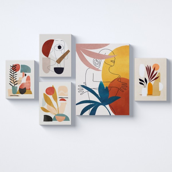 Modern Sanat Kolaj Parçalı Kanvas Tablo