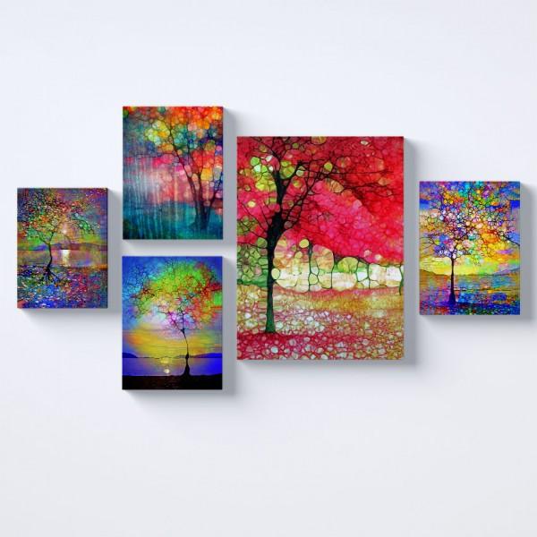 Renkli Ağaçlar Kolaj Parçalı Kanvas Tablo