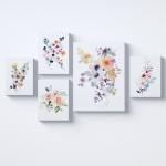 Çiçekler Pembe Kolaj Parçalı Kanvas Tablo
