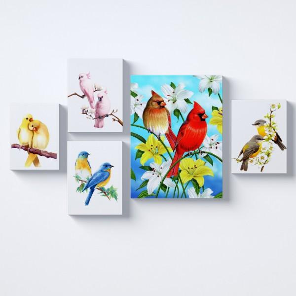Renkli Kuşlar Kolaj Parçalı Kanvas Tablo