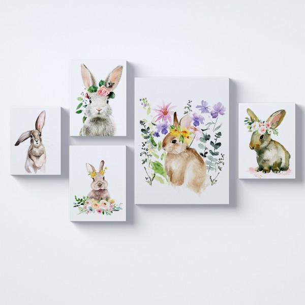 Tavşanlar Kolaj Parçalı Kanvas Tablo