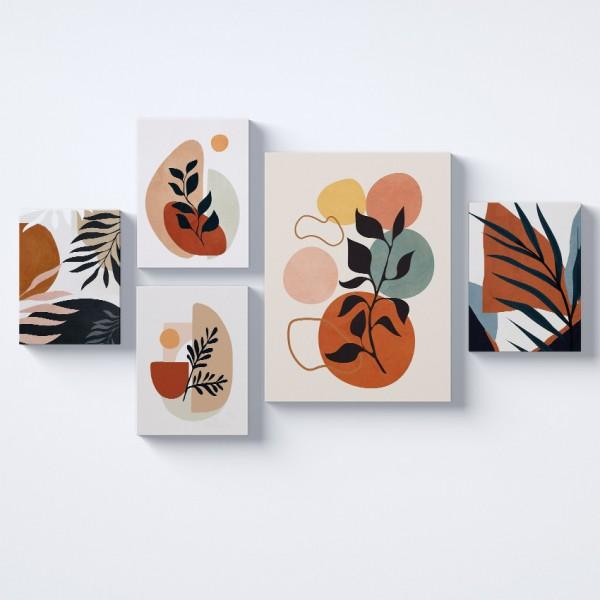 Yapraklar Renkli Kolaj Parçalı Kanvas Tablo