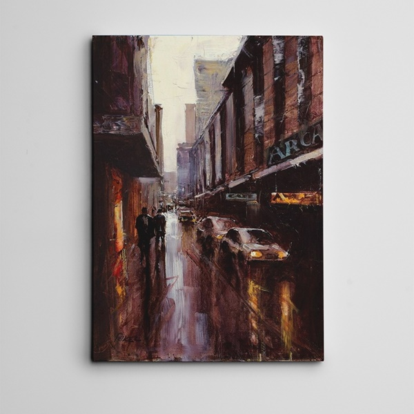 Caddede Arabalar Kanvas Tablo