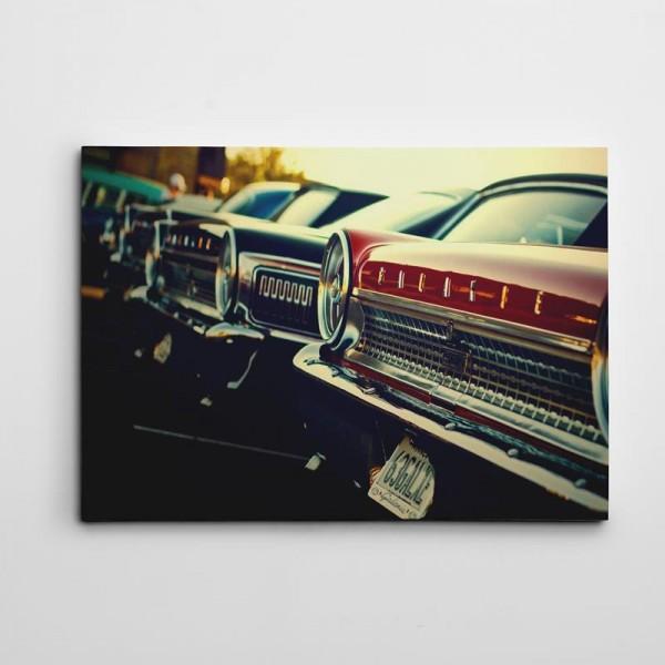 Arabalar Retro Kanvas Tablo