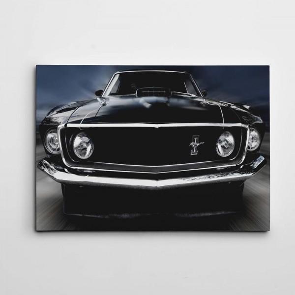 Siyah Araba Retro Kanvas Tablo