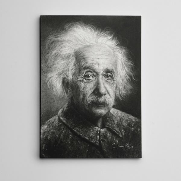 Albert Einstein Siyah Beyaz Kanvas Tablo