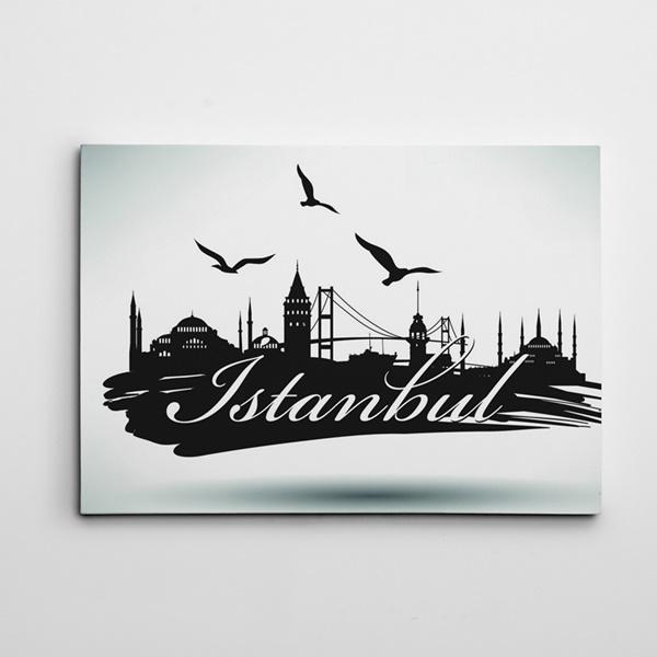 İstanbul Silüeti Siyah Beyaz Kanvas Tablo
