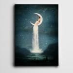 Ay Şelale ve Kadın Mini Kanvas Tablo
